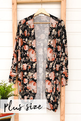 Chrissy Small Floral Cardi-Black