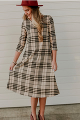 Houndstooth Midi-Taupe