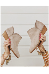Bella Lace Trim Booties-Taupe