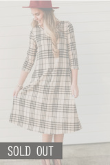 Houndstooth Midi - Taupe