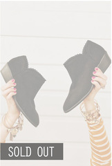 Bella Lace Trim Booties-Black