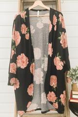 Chrissy Big Floral Cardi - Black