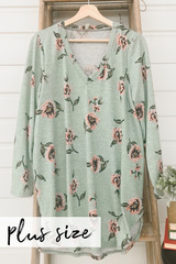 Soft Floral Mint V-neck