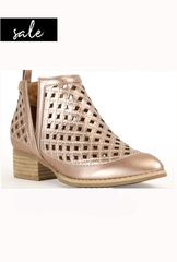 Cut Out Booties - Rose Gold