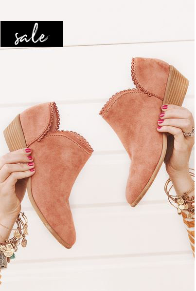 Bella Lace Trim Booties-Blush