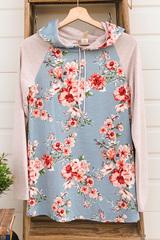 Two Tone Floral Hoodie