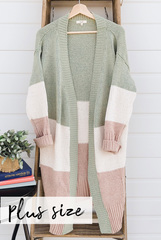 Colorblock Thick Cardi - Green
