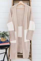 Colorblock Thick Cardi - Natural