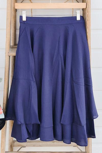 Double Ruffle Skirt - Navy