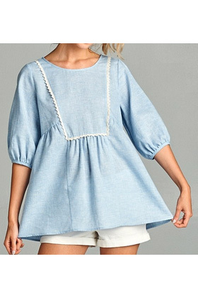 Isla Linen Blouse - Blue