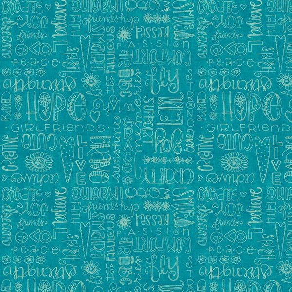 Friend Words Aqua Fabric