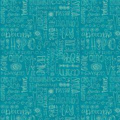 Friend Words Aqua Fabric