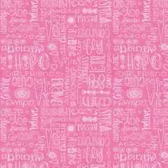 Friend Words Pink Fabric