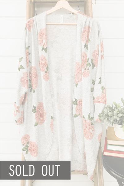 Chrissy Floral Cardi - Grey