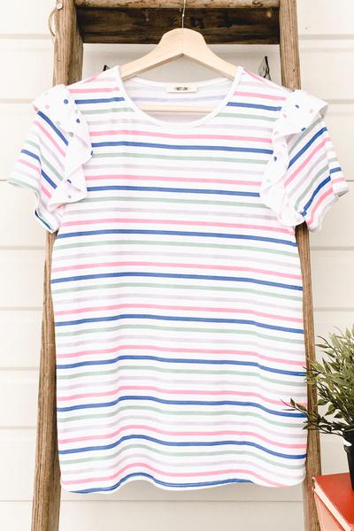 Stripe & Polka Ruffle Sleeve Top