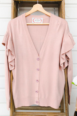 Blush Drop Sleeve Ruffle Cardi