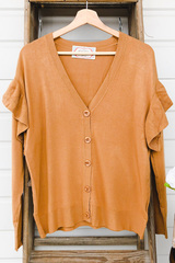 Drop Sleeve Ruffle Cardi - Rust