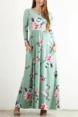 Quincy Floral Maxi Dress-Mint