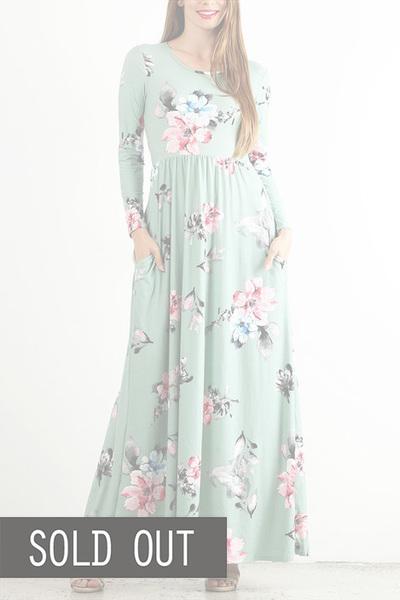 Mint Quincy Floral Maxi Dress