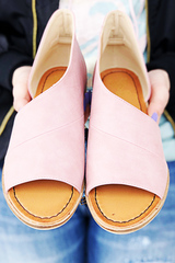 Blush Open Toe Flats