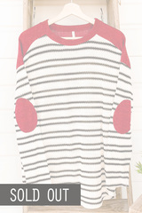 Stripes & Elbow Patch Knit Top