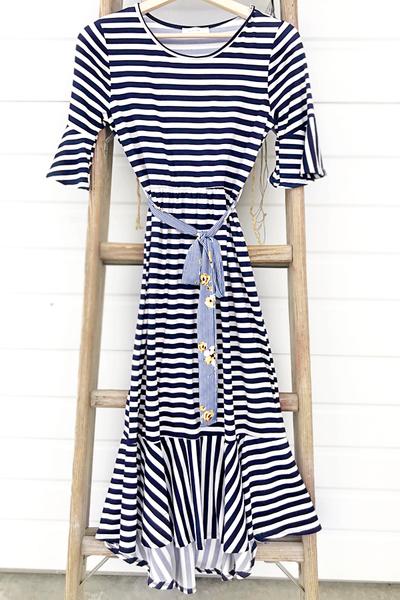 Navy Stripe Flounce Dress