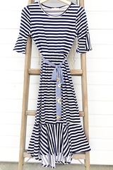 Navy Stripe Flounce Dress