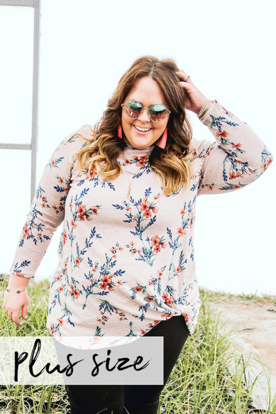 Soft Blush Floral Knot Top
