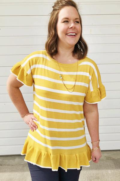 Mustard Stripe Ruffle Top