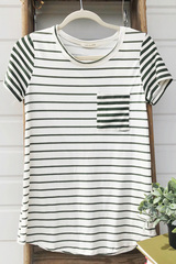 Olive Stripe Pop Pocket Top