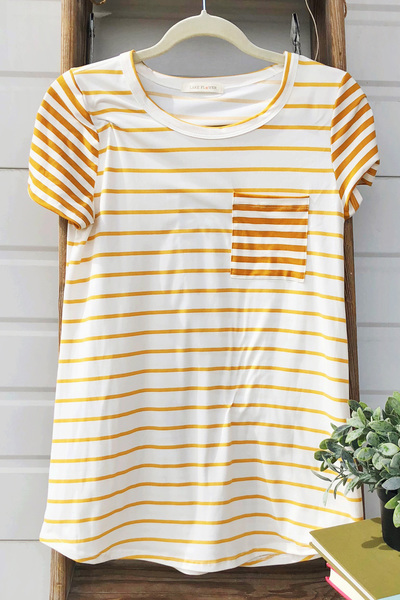 Mustard Stripe Pop Pocket Top