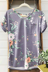 Muted Purple Floral V-Neck