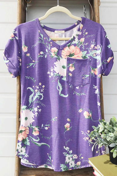 Purple Floral V-Neck