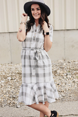 Flirty Plaid Midi