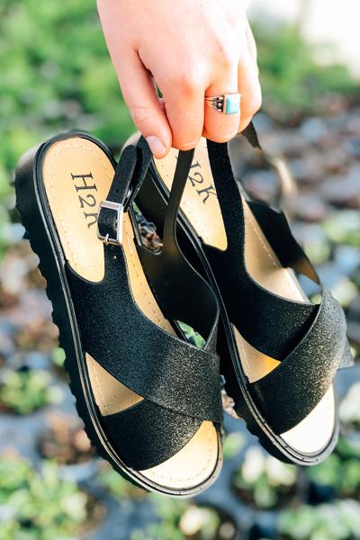 Black Sparkle Jelly Sandals
