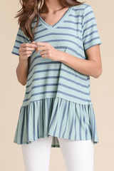 Dreamy Blue Stripe Peplum