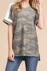 Distressed Camo Top