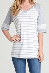 Grey & White Stripe Top