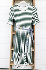 Olive Stripe Flounce Dress