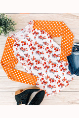 Floral & Polka Sleeve Top