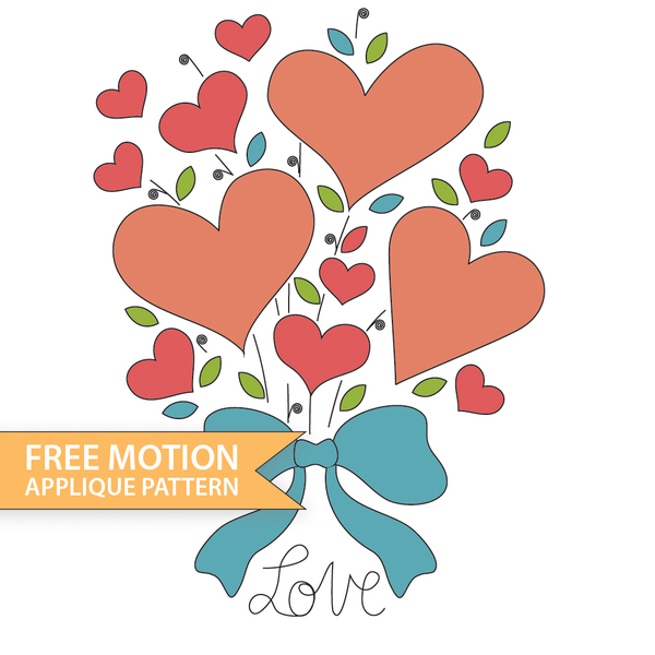 Free Motion Love Heart Bouquet