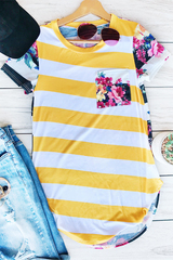 Mustard Stripe & Floral Top