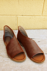 Brown Open Toe Flats