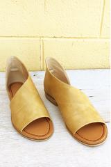 Mustard Open Toe Flats