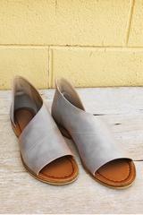 Grey Open Toe Flats