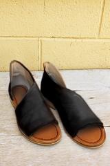 Black Open Toe Flats