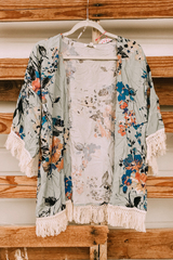 Sage Floral & Fringe Kimono