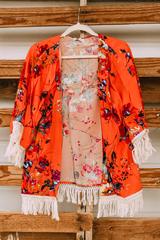 Coral Floral & Fringe Kimono
