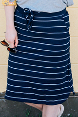 Navy Stripe Skirt