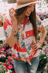 Stripe & Floral Tie Tee
